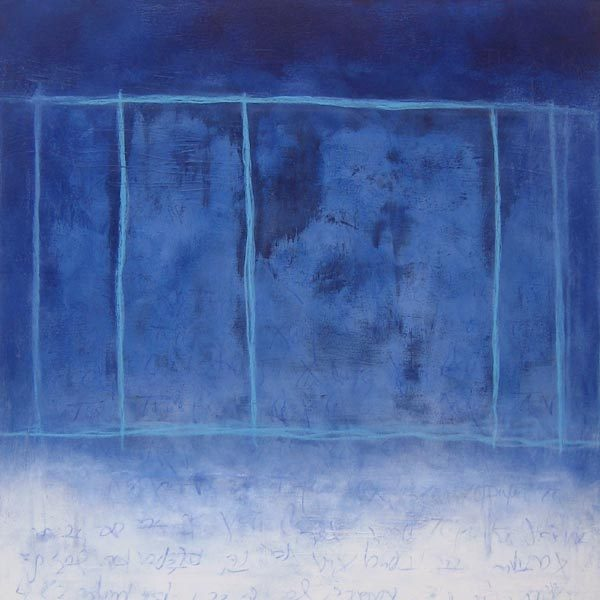 Anthony James Abstract painting with a blue textured background with faint script and lines