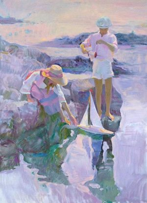 Don Hatfield - Boat Launching print of two children on rocks setting a toy sailboat into the water