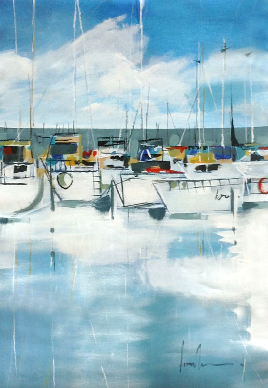 Angela Maritz Oil Painting of Boats in Harbor Lined Up on White Blue Ocean Marina Dock