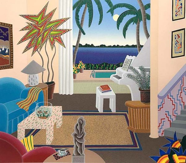 Thomas McKnight - Boca Raton print of living room with opening to pool overlooking ocean in Florida