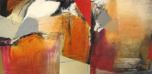 Natasha Barnes Bold Red and Rust Abstract with Orange and Black