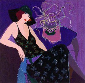 Itzchak Tarkay - Bon Jour La Vie I print of woman and vase of stringy flowers