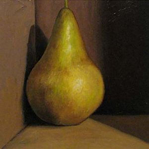 Jeanette Staley - Bosc Pear - Painting of a pear in a corner