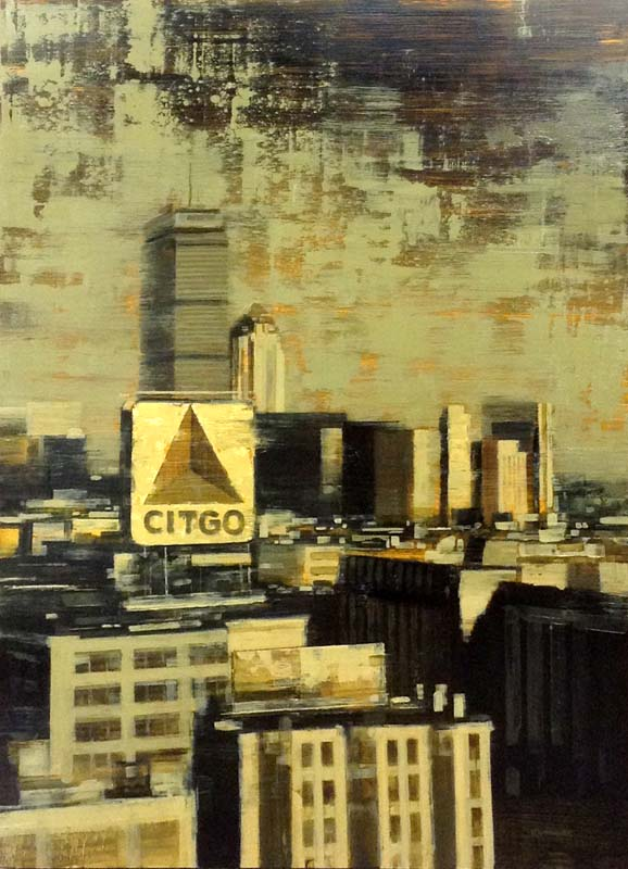 Kevin Kusiolek Contemporary Boston Cityscape of Citgo and Prudential Building in Gray Beige Black