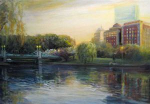 Celia Judge Oil Painting of Boston Garden at Dusk Sunset Twilight Evening