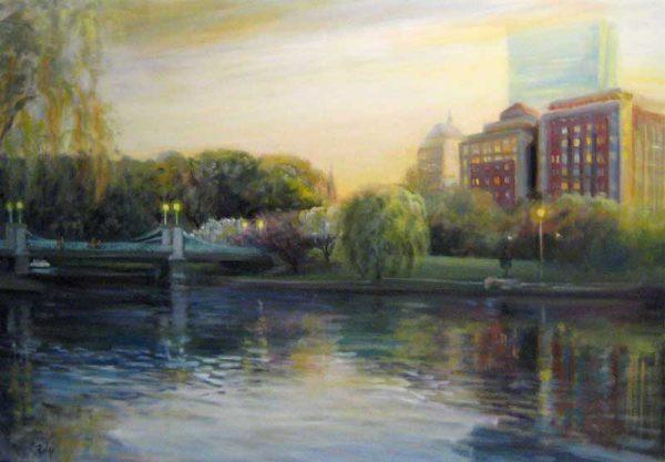 Celia Judge Oil Painting of Boston Garden at Dusk Sunset Twilight Evening