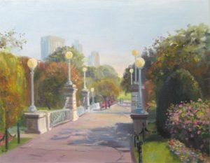 Celia Judge painting of Boston Public Garden trees walk