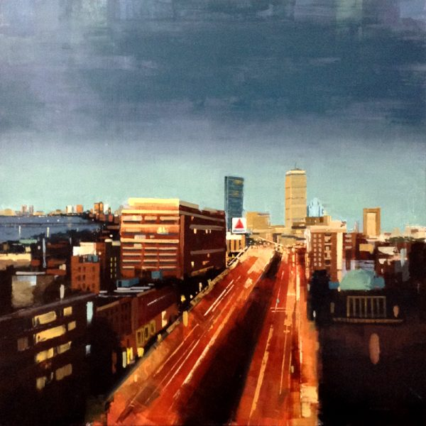 Kevin Kusiolek Oil on Board Contemporary Painting of Boston City Skyline with Prudential and Citgo Sign
