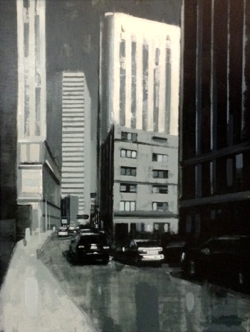 Kevin Kusiolek Contemporary Cityscape Urban Architecture Grayscale Oil Painting