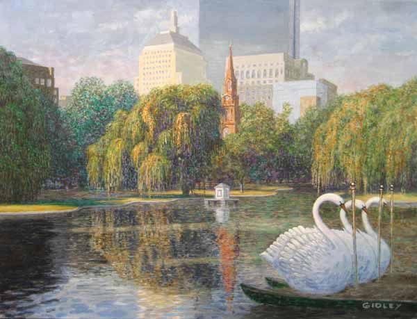 Phil Gidley Oil Painting of Boston Swan Boats in Public Garden