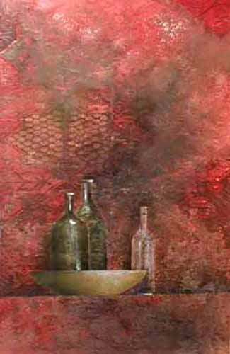 Claudio Missagia Bottles on Red background with bowl