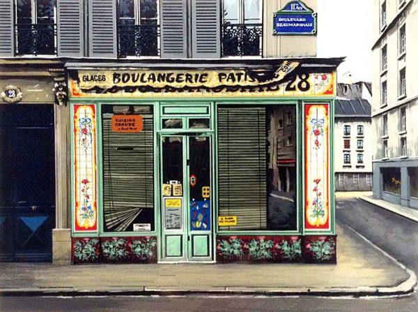 Thomas Pradzynski - Boulangerie 28 print of shop front on French street