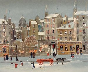 Michel Delacroix - Boules De Neige print of naive french street in winter with children throwing snowballs