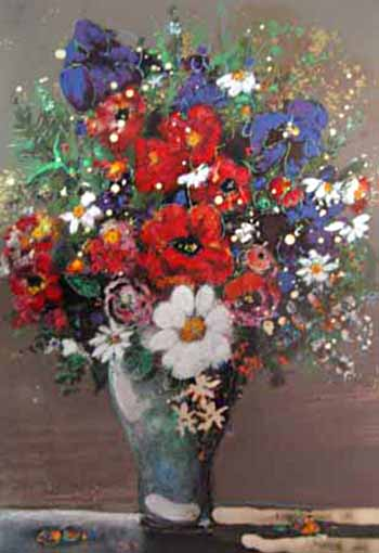 Aleah Koury - Bouquet serigraph of bright flowers in vase