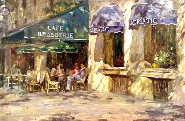 Leonard Wren Brasserie print of people sitting at an outdoor cafe