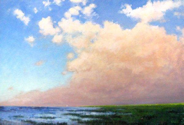 Mary Nolan Oil Painting on Canvas of Pink Clouds at Sunset Evening Twilight on Horizon of Ocean