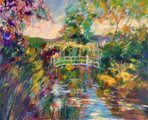 Aldo Luongo - Bridge at Giverny print of a bridge over water among colorful plants