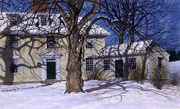 Carol Collette Etching of a farm house in winter snow with blue sky and trees