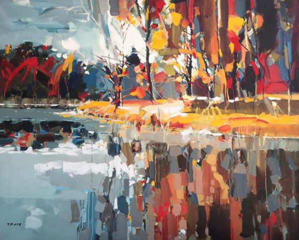 Josef Kote Giclee of Autumn Trees and Leaves in Fall Over Water