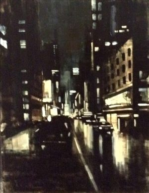 Kevin Kusiolek Black and White Contemporary Oil Painting on Board of Broadway St City