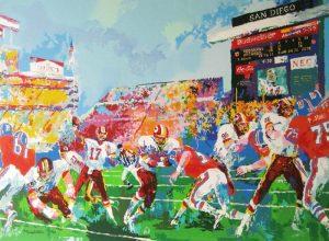 Leroy Nieman - In the Pocket - Broncos & Redskins print of football game