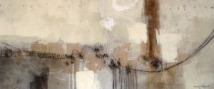 Ursula Brenner Contemporary Brown Silver Gray Abstract Painting on Canvas