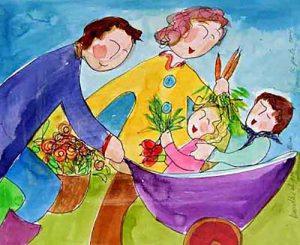 Katherine Porter - Bundles of Good Nature painting of family having fun holding veggies and flowers