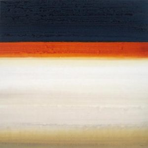 Robert Charon Abstract Oil Painting with Orange Stripe and Navy