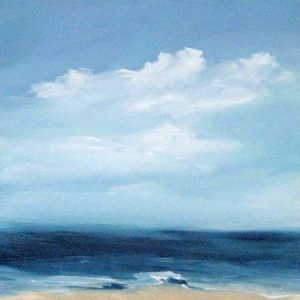 Dannielle Mick Contemporary Seascape Painting with Teal Blue Sky and White Clouds