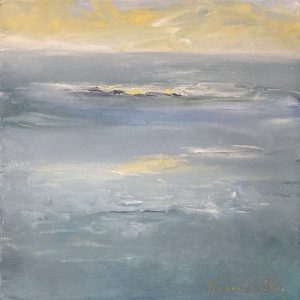 Dannielle Mick Small Contemporary Seascape Painting With Teal Ocean and Yellow Sun