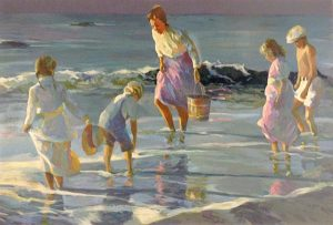 Don Hatfield - By The Sea print of a woman with bucket and four children with feet in the water at the shoreline