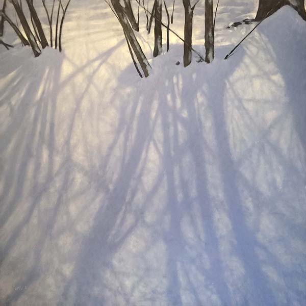 Carol O'Malia Float painting of snow covered forest ground