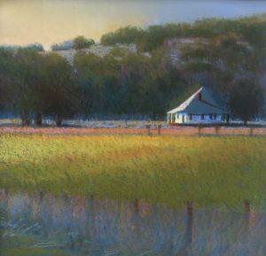 Will Klemm pastel painting of a cabin in a field with sunlight