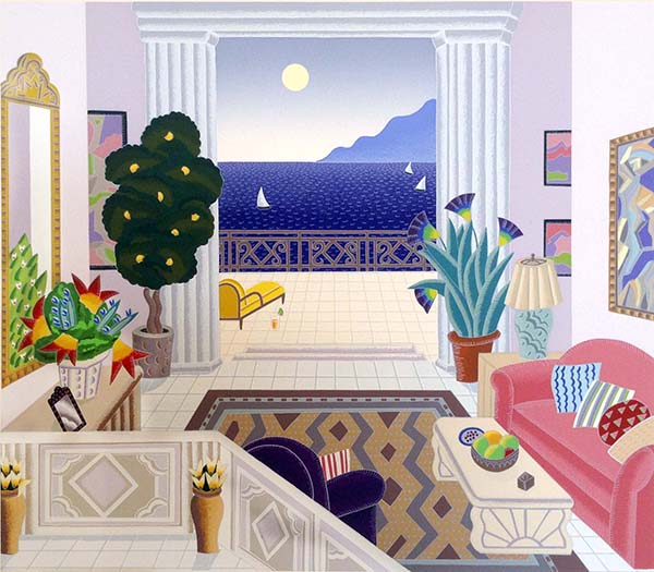 Thomas McKnight - California Salon print of living room with opening to balcony overlooking ocean