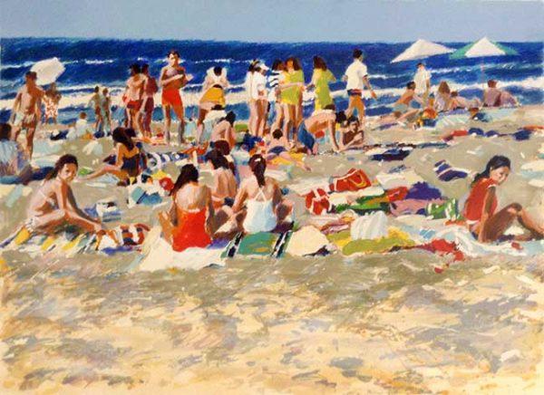 Aldo Luongo - California print of beachgoers on a sunny summer day