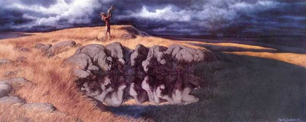 Bev Doolittle - Calling the Buffalo print of a Native American man blowing a horn on a grassy field with storm clouds