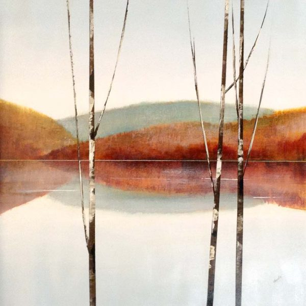 Sydney Edmunds Tranquil Contemporary Landscape with Birches Mountains Water