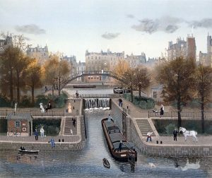 Michel Delacroix - Canal St. Martin en Automne print of paris in autumn with boat in canal