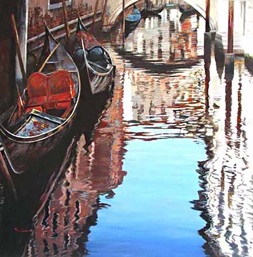 Raffaele Fiore Venice Canal View painting of gondolas and bridge on water