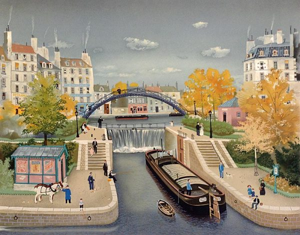 Michel Delacroix - Canal St. Martin print of French water dam with boats