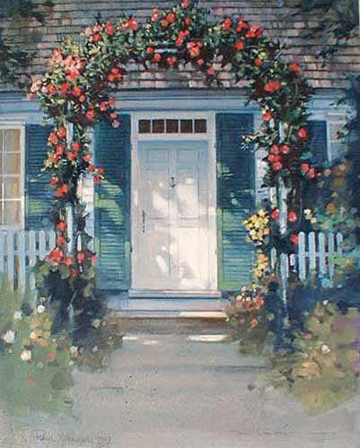 Paul Landry - Cape Cod Welcome print of door to house under flower arch