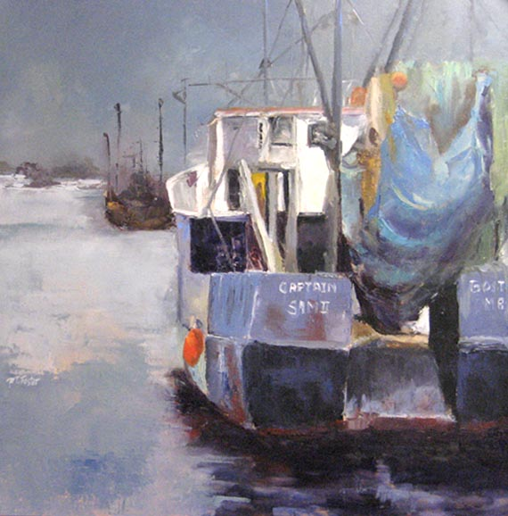 Pat Foster - Captain Sam - Painting of a boat in the ocean