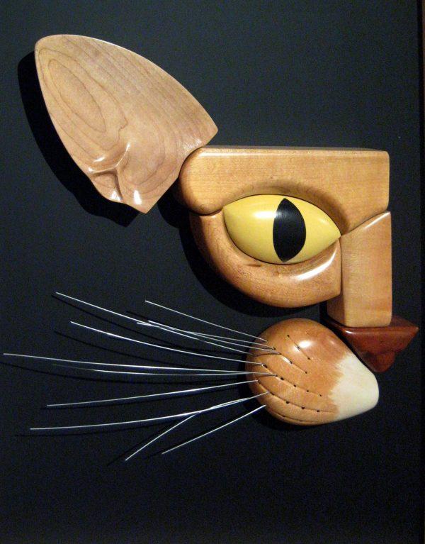 Daniel Jenkins Finished Wood Fine Art Wall Sculpture of Cat Framed