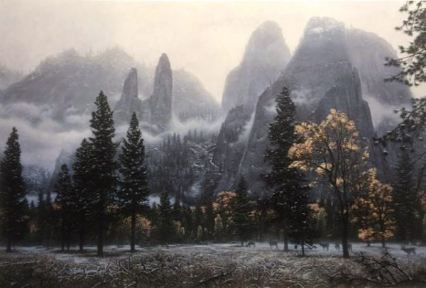 Stephen Lyman - Cathedral Snow print of Yosemite National Park