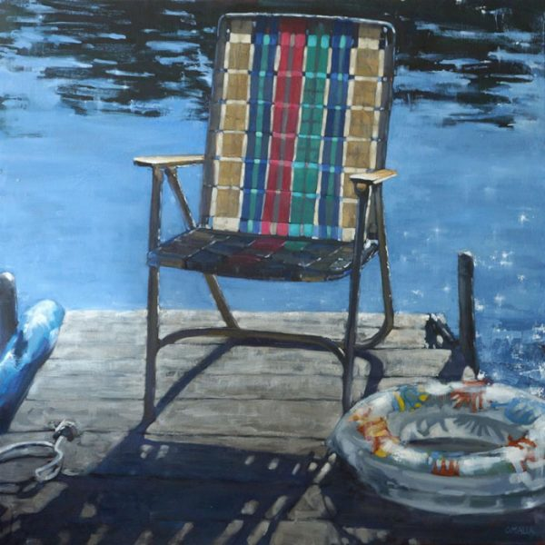 Carol OMalia O'Malia Oil Painting on Canvas of Beach Chair on Dock at Lake
