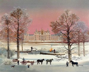 Michel Delacroix - Chambord print of chateaux in winter with people clearing trees and bonfire