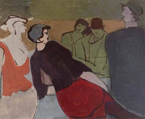 David Schneuer - Chamise Noir print of woman in red skirt and black top lounging and talking to others