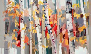 Josef Kote Limited Edition Giclee on Canvas of Birch Trees in Forest with White and Red
