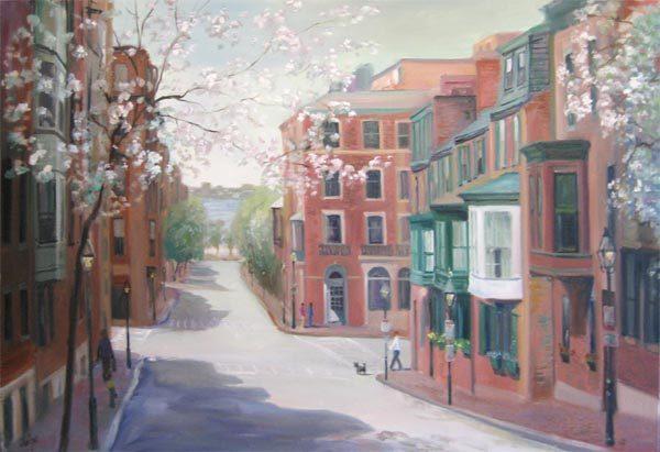 Celia Judge painting of Beacon Hill