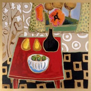 Alison Goodwin Limited Edition of Kitchen Dining Table with Pears Limes and Jug